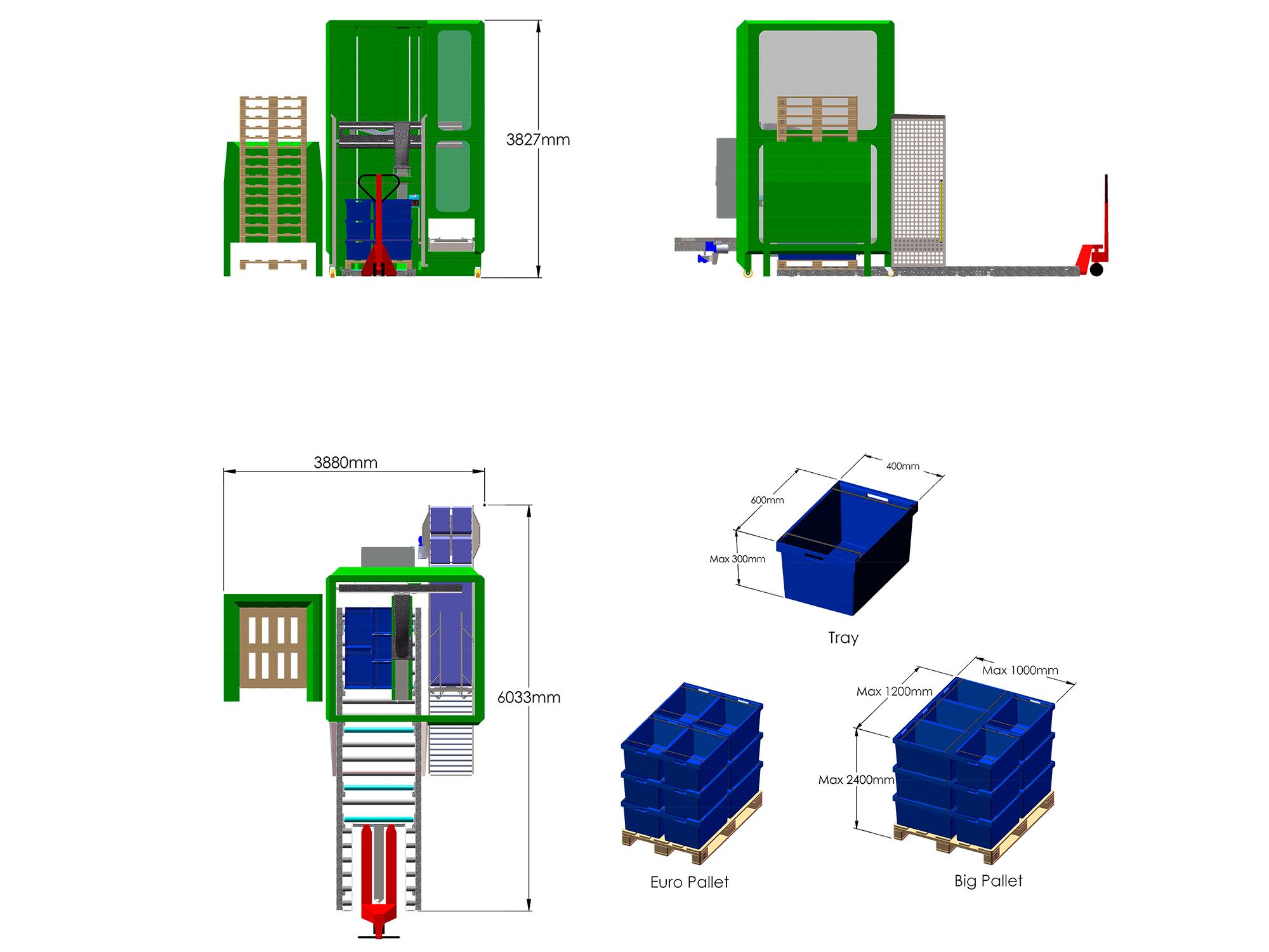 Palletiser - PT5 PalleTizer - teknisk tegning